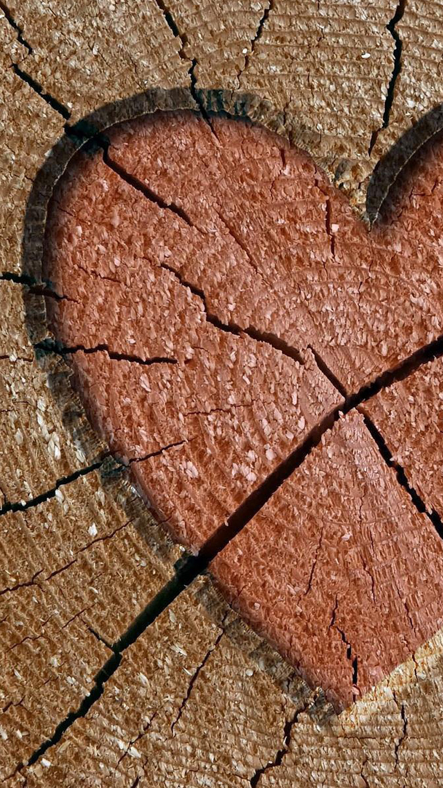 Heart engraved log iPhone wallpaper