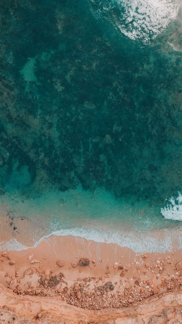 aerial photography of shore iPhone wallpaper