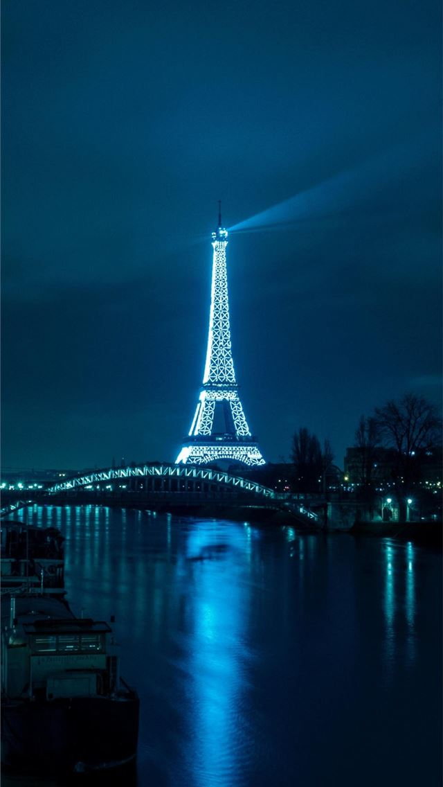 Paris eiffel tower night city river bridge Android... iPhone wallpaper