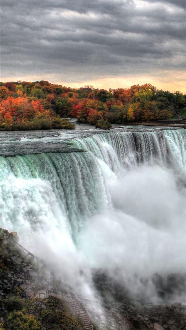 Hd Wallpaper Niagara Falls Waterfall Stream Nature Landscape Rocks Clouds Wallpaper Flare