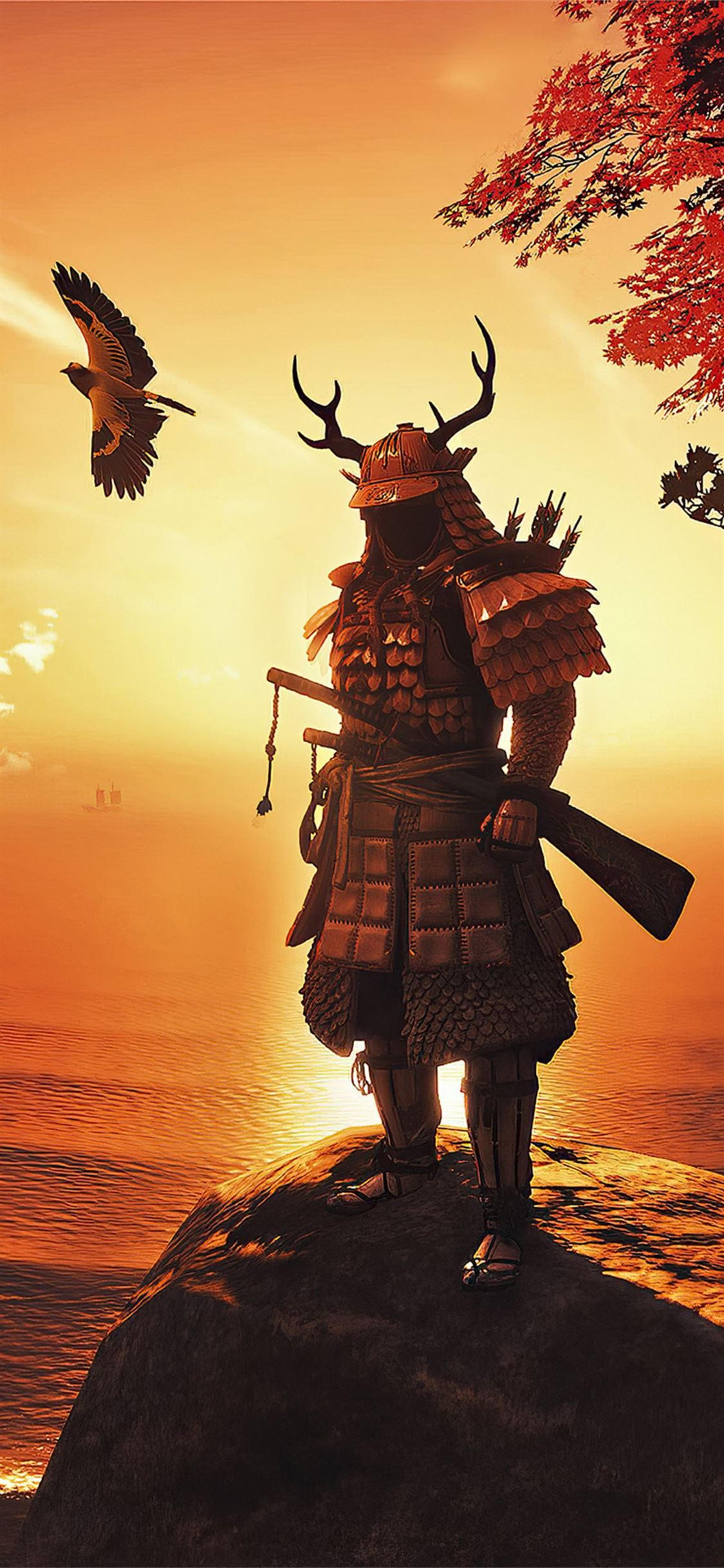 ghost of tsushima fan 4k iPhone X Wallpapers Free Download
