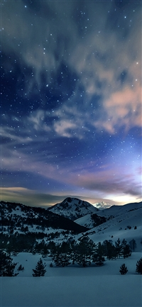 Aurora Star Sky Snow Mountain Winter Nature iPhone X wallpaper