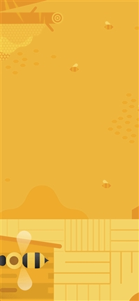 Minimal Honey Yellow Art Illustration Cute iPhone X(S/Max/R) wallpaper