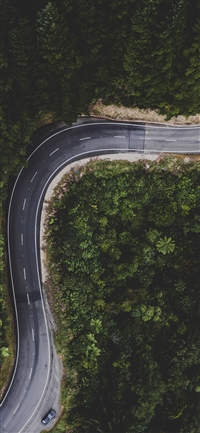 Street Road Mountain Nature Aerial view  iPhone X wallpaper