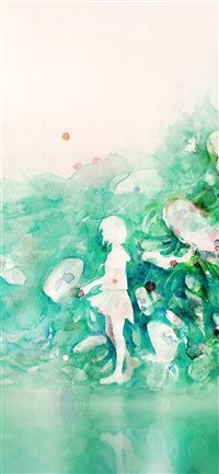 Watercolor Green Girl Nature Art Illust iPhone X(S/Max/R) wallpaper