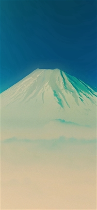 Fuji Blue Mountain Alone iPhone X wallpaper