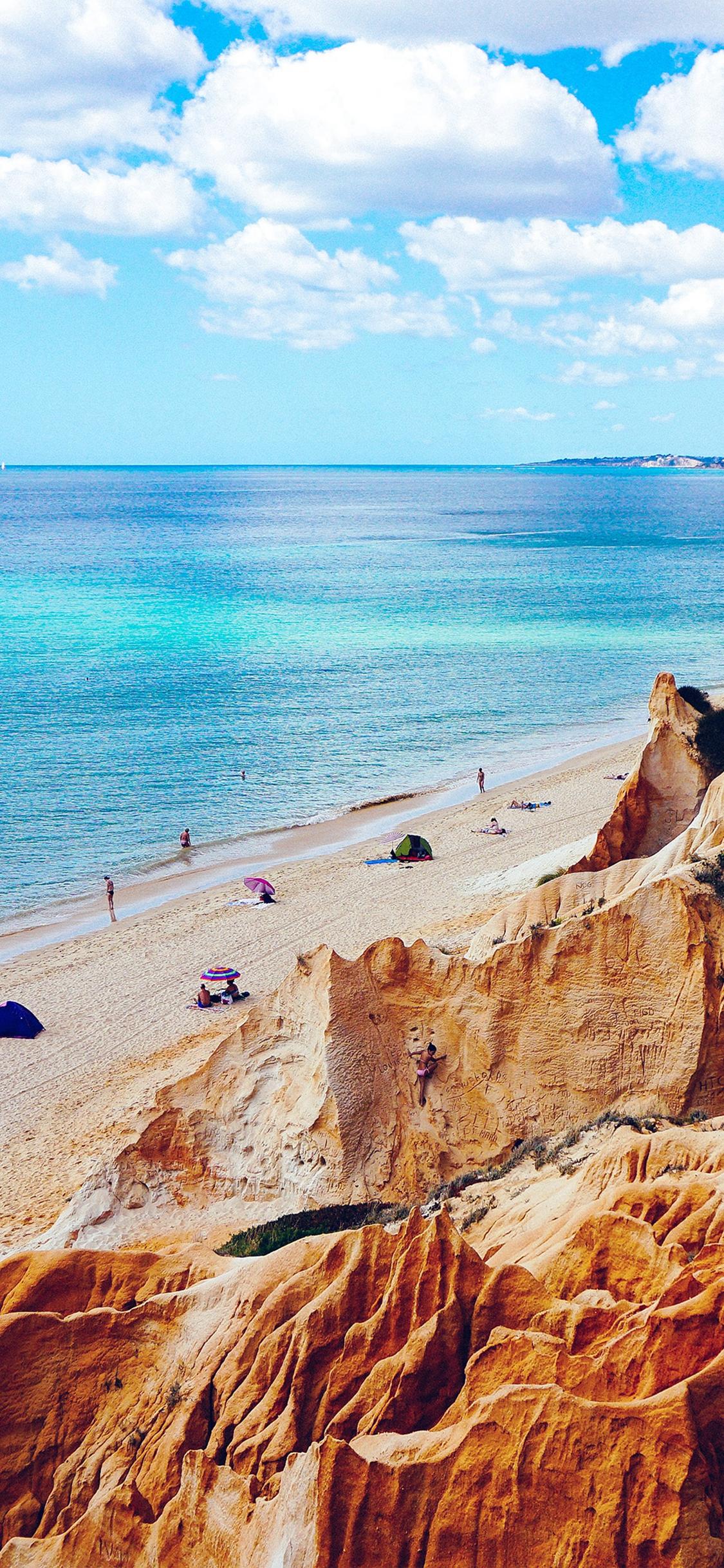 Nature Sea Vacation Beach Rock Summer Blue Iphone X Wallpaper