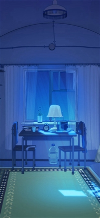 Arsenic Painting Blue Room Art Illustration iPhone X wallpaper
