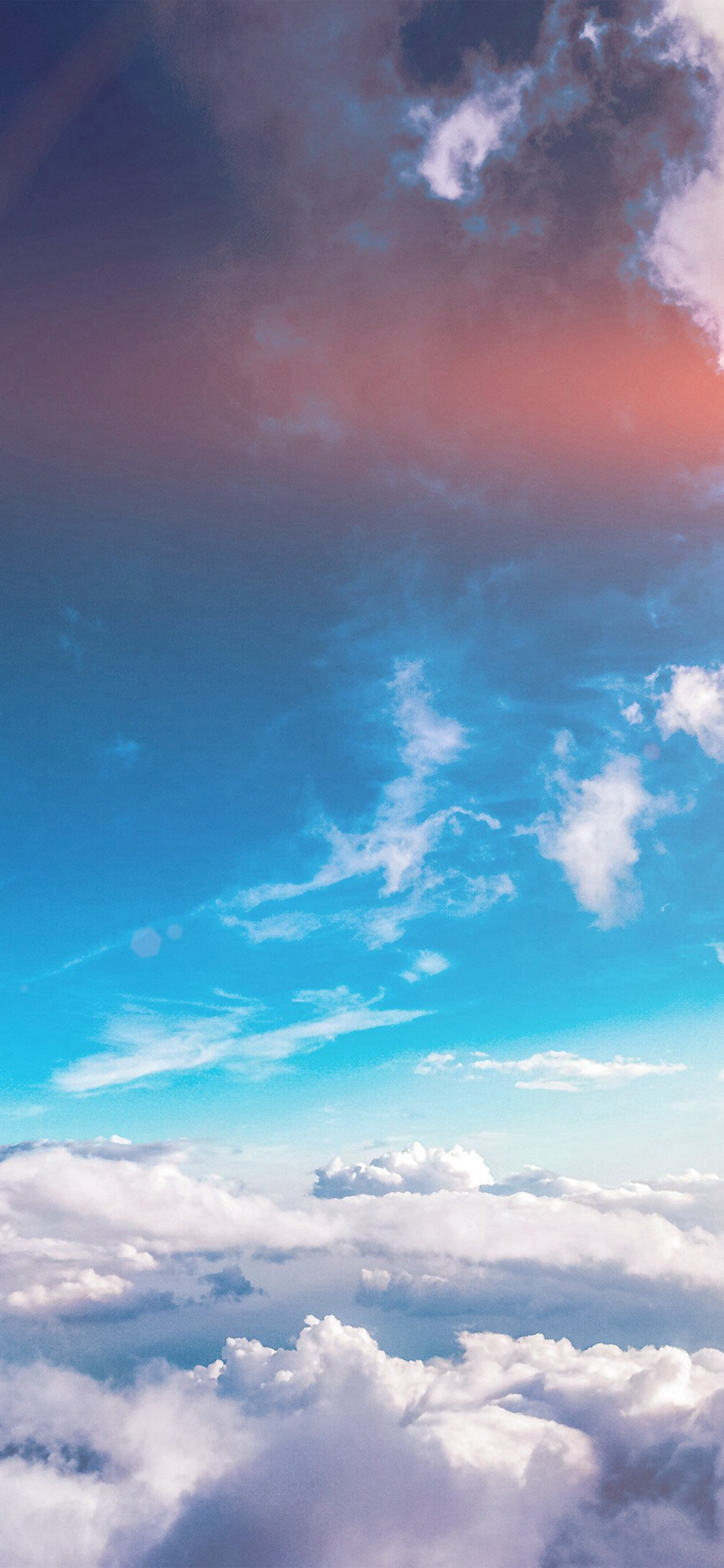 Sky Cloud Fly Blue Summer Sunny Flare Iphone X Wallpapers