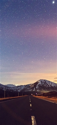 Sky star lovely road iPhone X wallpaper