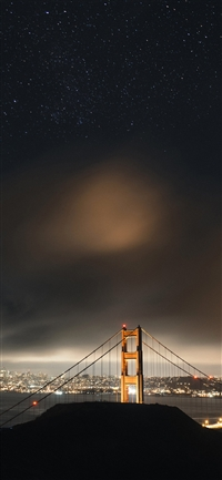 Golden bridge sky star iPhone X wallpaper