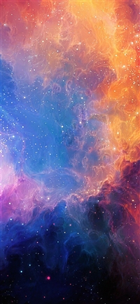 Space art rainbow iPhone X wallpaper