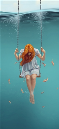 Swing art painting girl iPhone X wallpaper