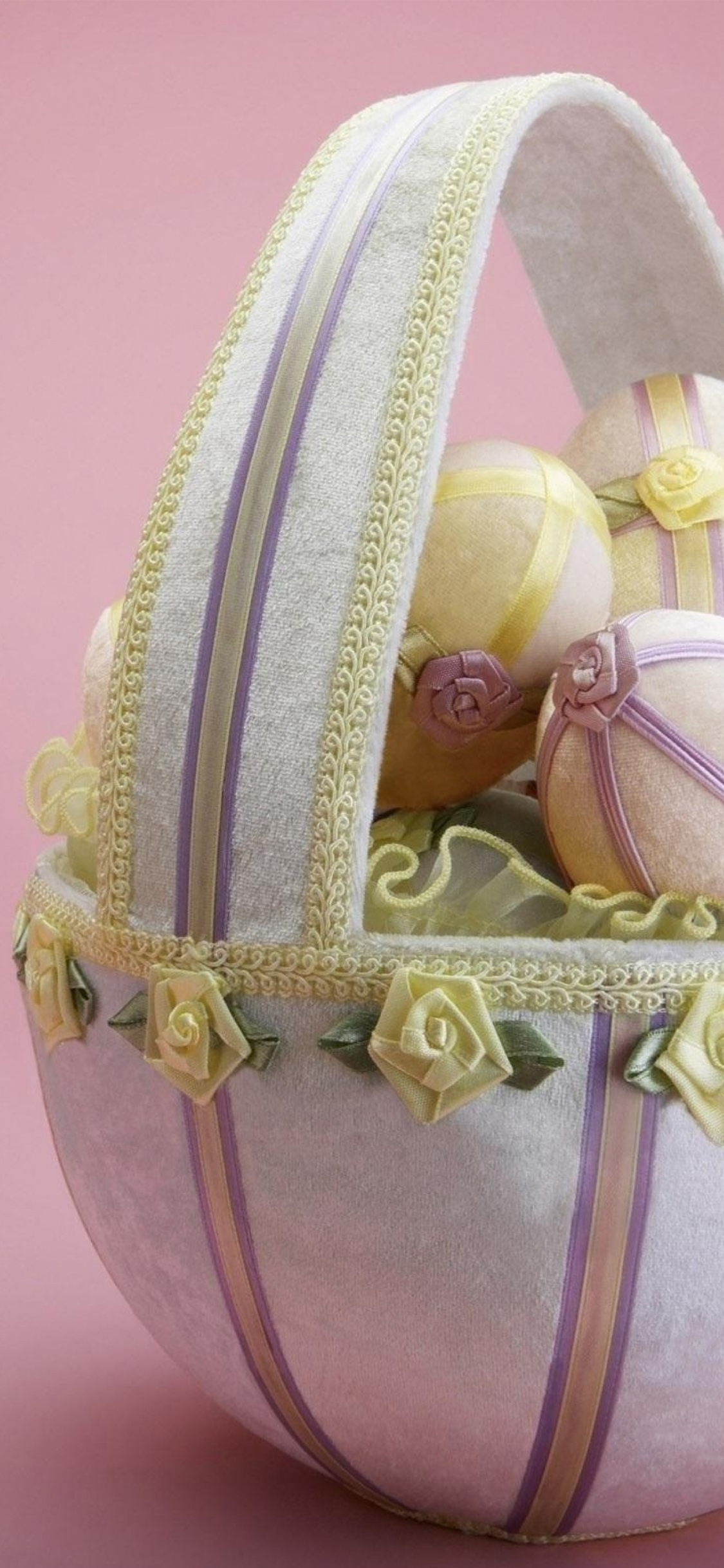Easter Holiday Basket Eggs Flowers Beauty Background Iphone