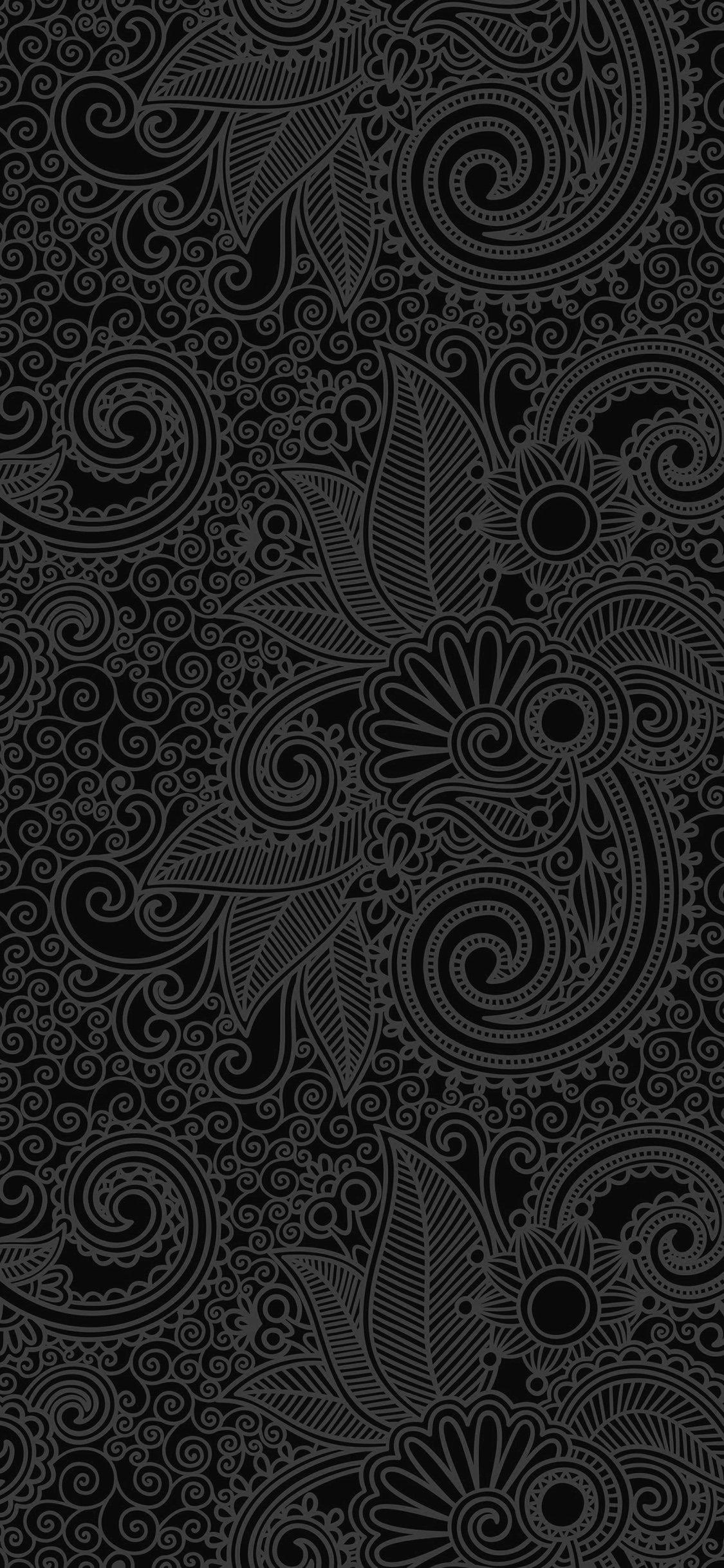... Design Flower Line Dark Pattern IPhone X Wallpaper.