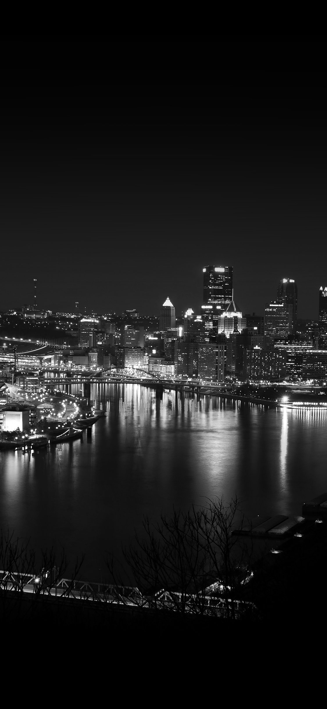 Pittsburgh Dark Skyline Night Cityview Iphone X Wallpapers