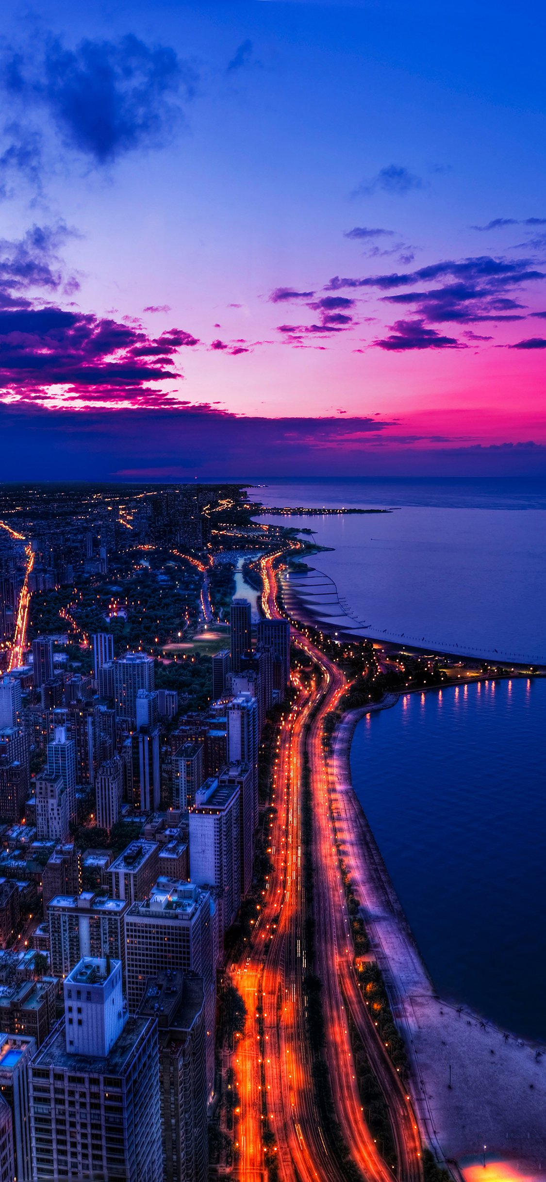 Chicago city night sky view scape ocean beach iPhone X wallpaper