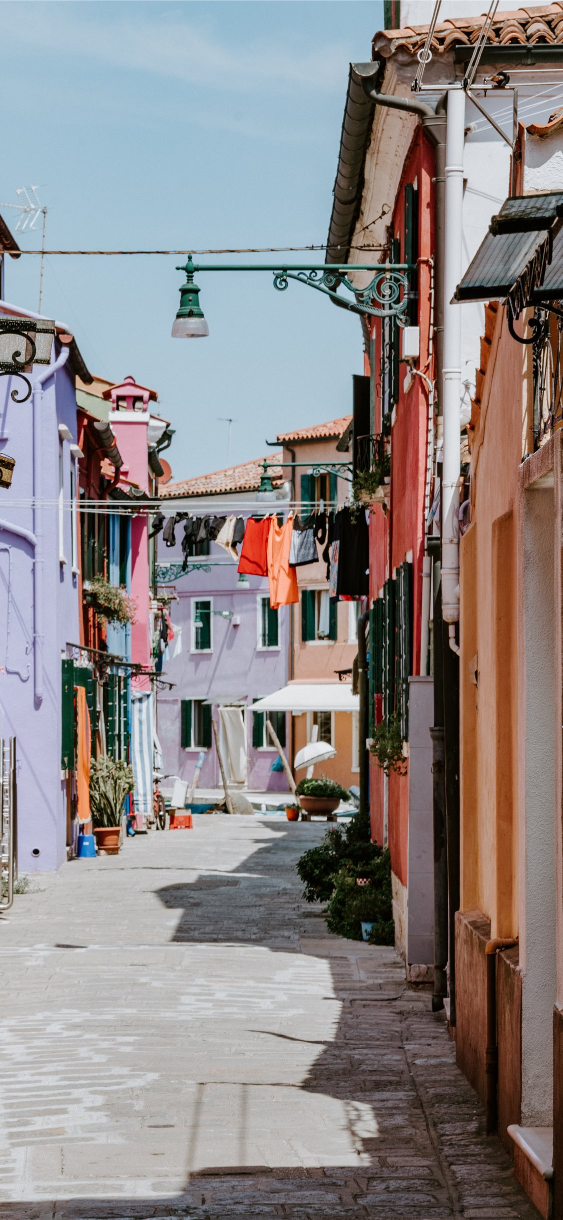 Laundry Drying In Alley Colourful Burano Iphone Wallpapers