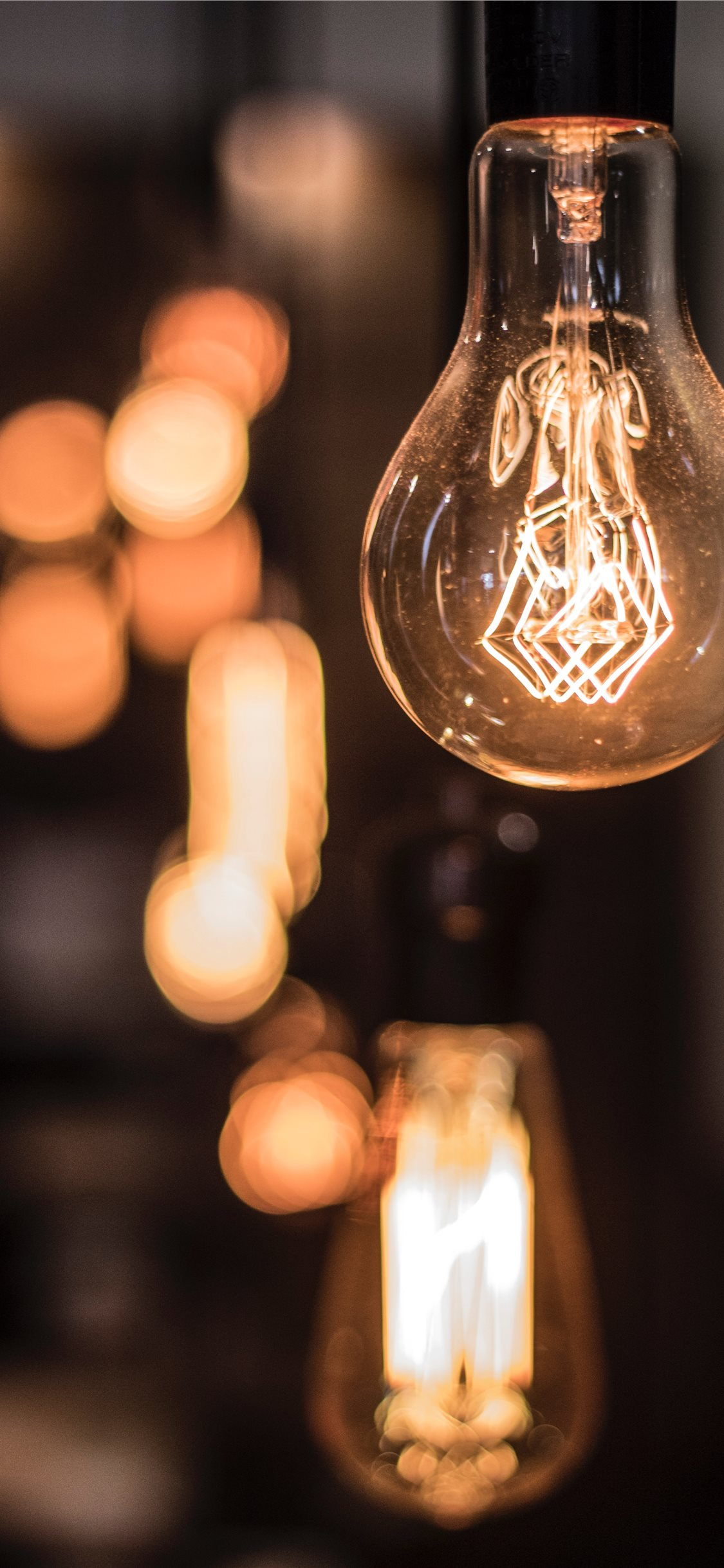 Vintage lightbulb inside a coffee shop in Mexico C iPhone