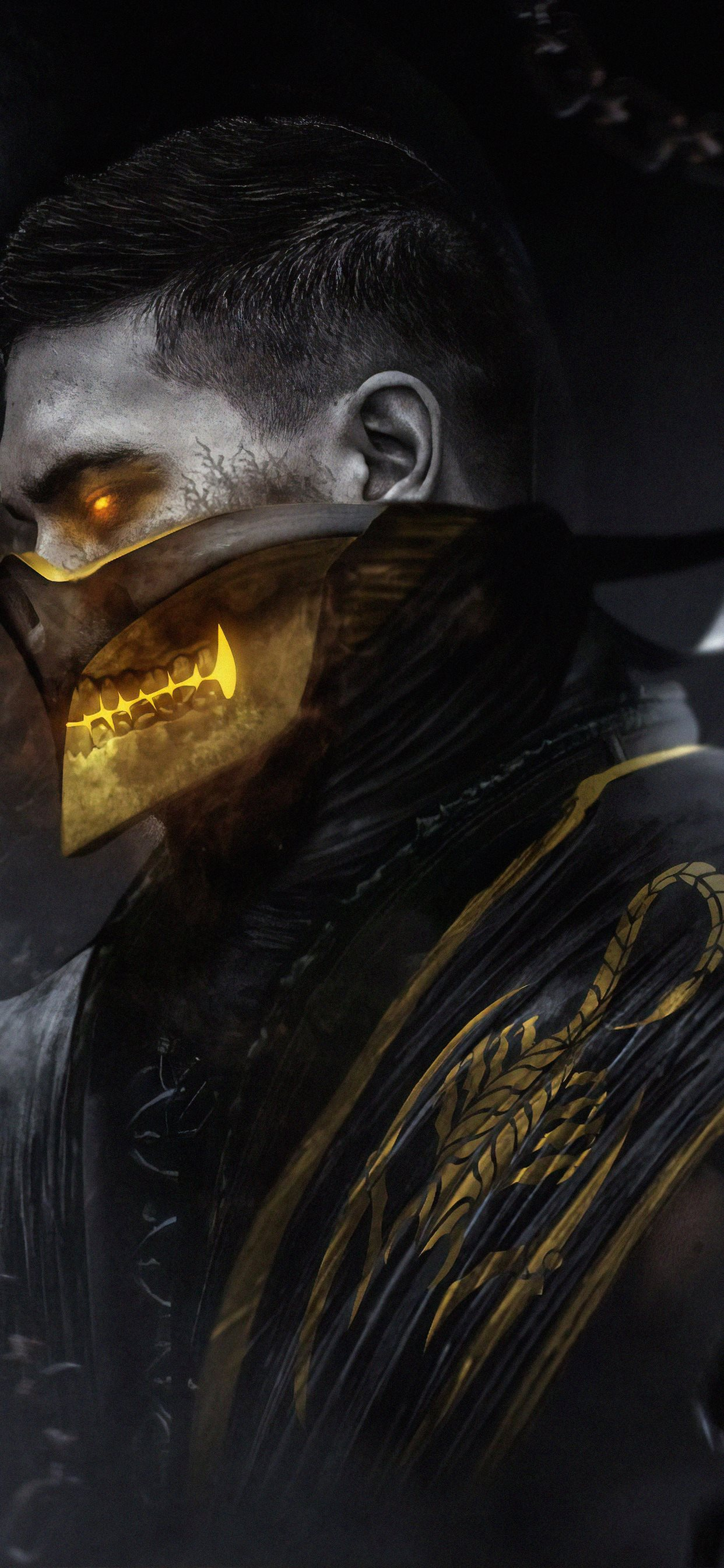 scorpion mortal kombat art iphone xs max wallpaper