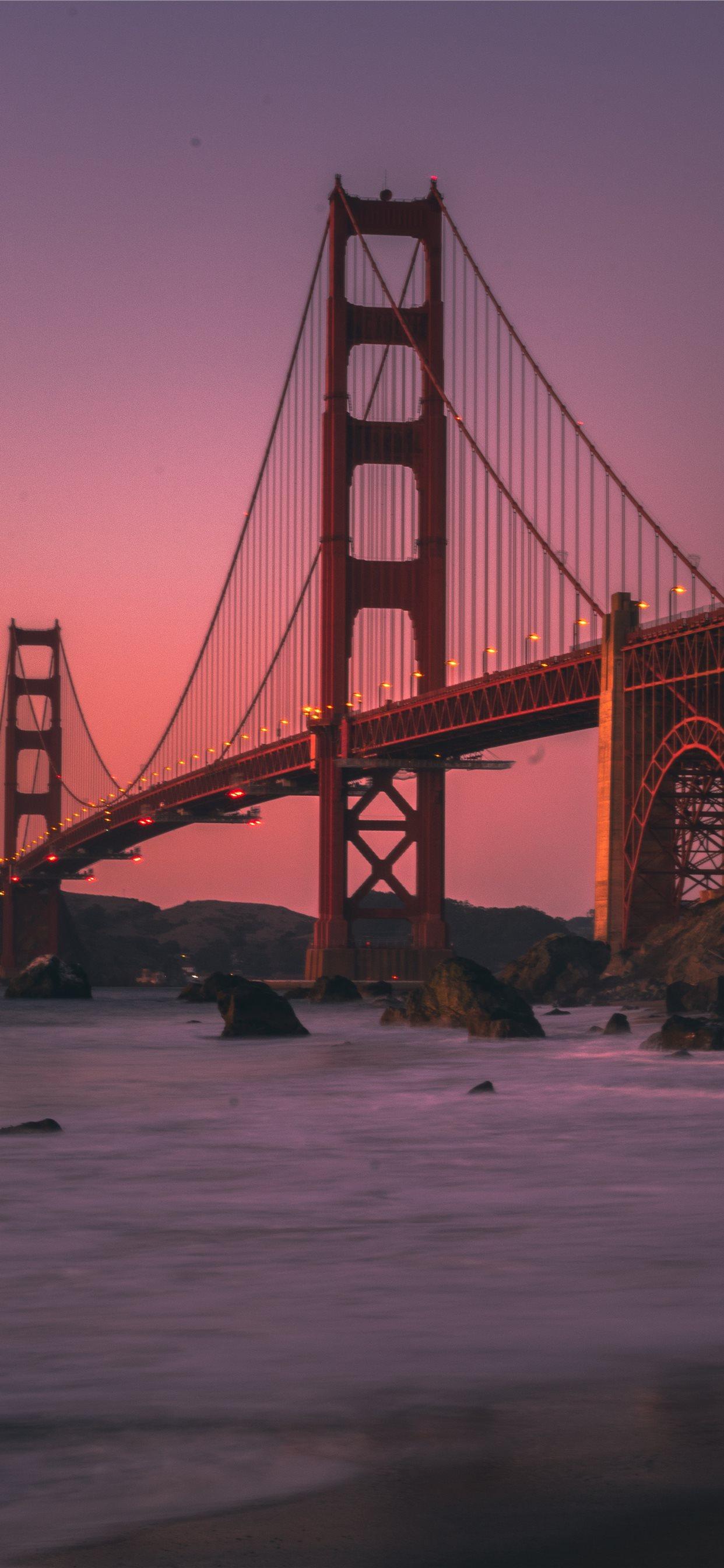 Golden Gate Bridge During Sunset Iphone Wallpapers Free Download