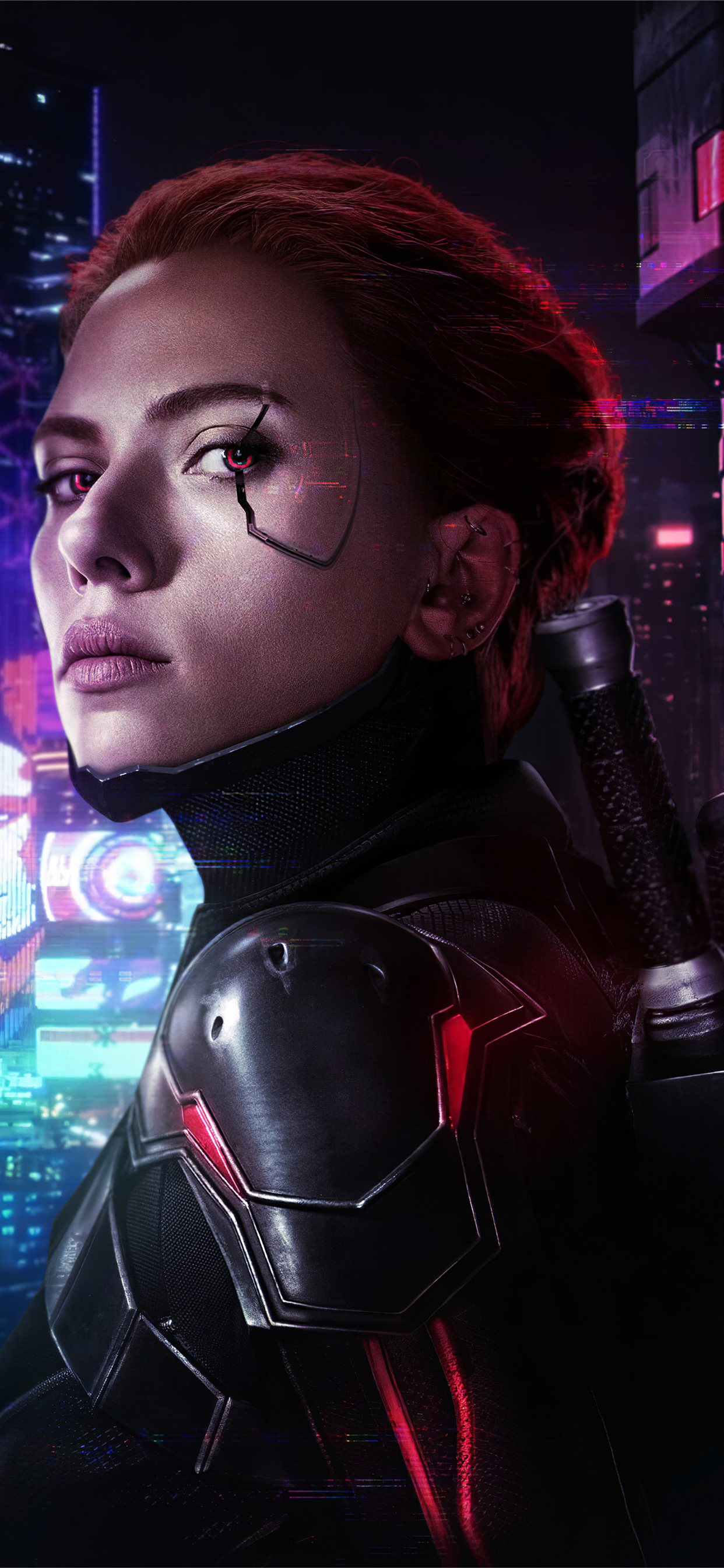 Cyberpunk 2077 X Avengers Black Widow Iphone X Wallpapers Free Download