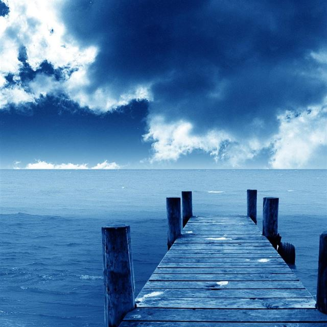Blue Dock iPad wallpaper