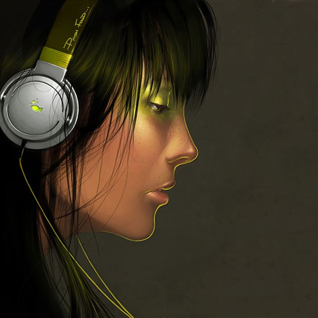 Female Headphones iPad wallpaper