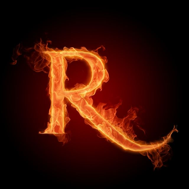Fire Letters of R iPad wallpaper