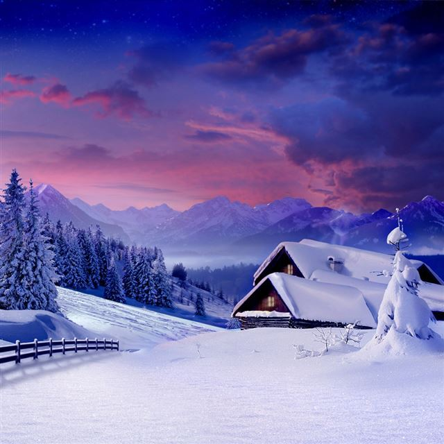 Snowy Scenery iPad wallpaper