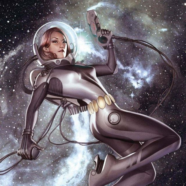Space Girl iPad wallpaper