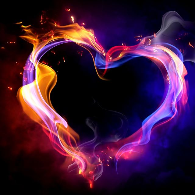 Fire heart iPad wallpaper