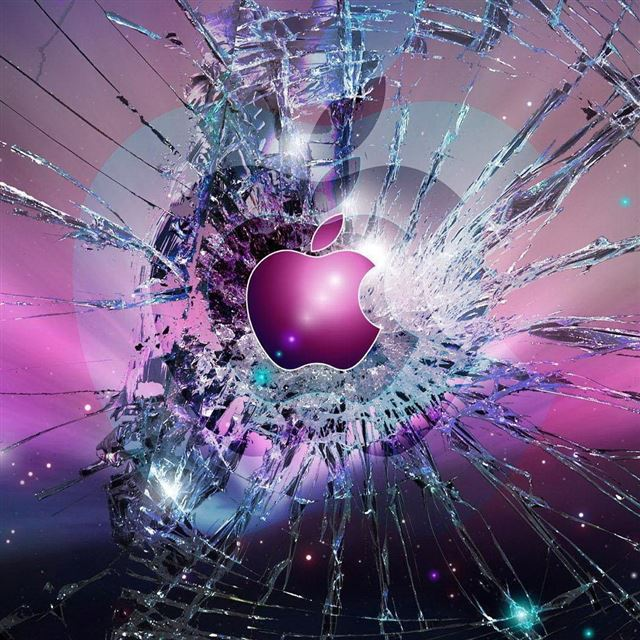 Apple Logo Broken Glass iPad wallpaper