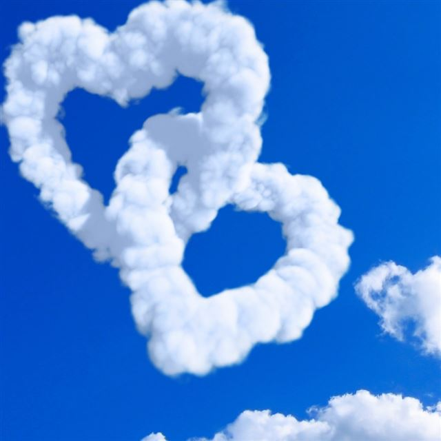 Hearts In Clouds iPad wallpaper