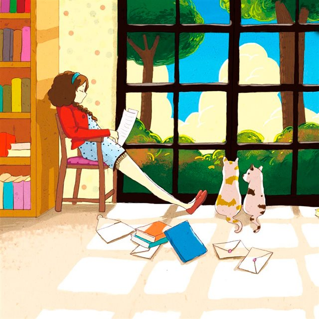 Reading under the sun iPad wallpaper