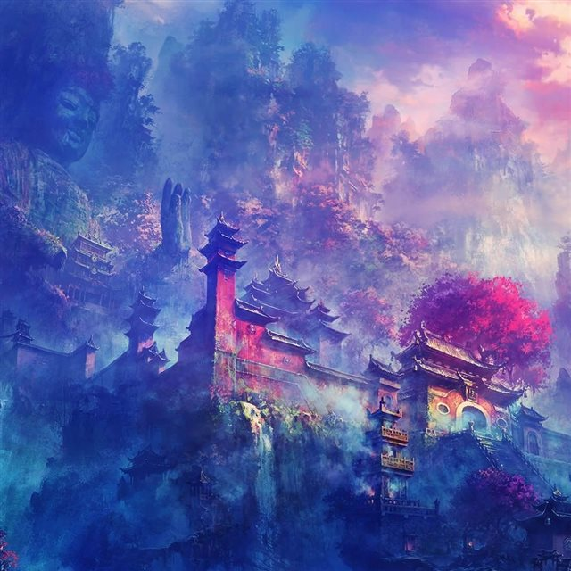 Asian Village In The Mountains Fantasy iPad wallpaper