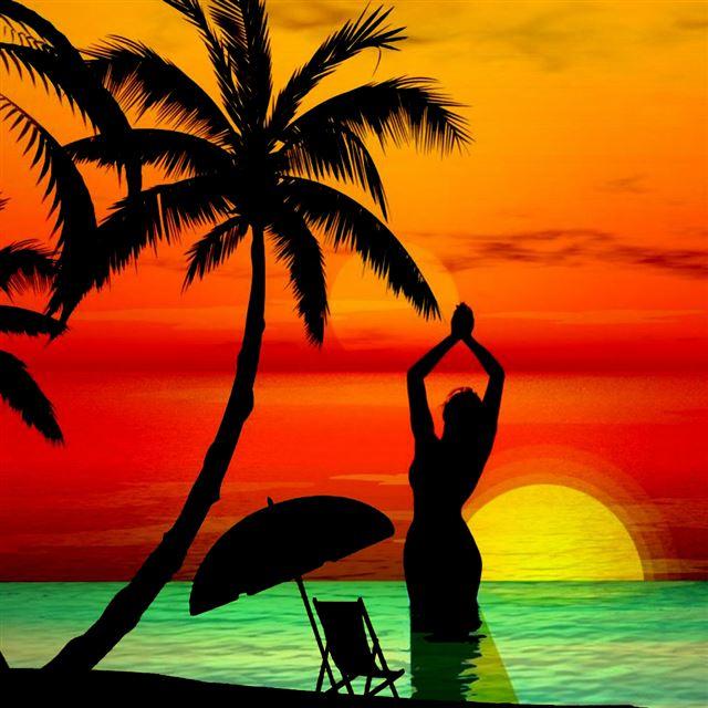 Island Beach Wallpaper: 3D Abstract Sunset Beach From Another World IPad