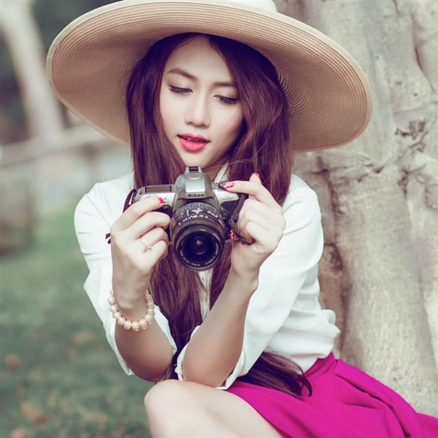 Lovely Asian Girl Camera Nikon iPad wallpaper