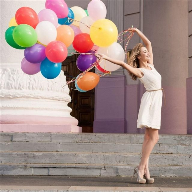 Mood Girl Blonde Balloons Colorful Smile Happy iPad wallpaper