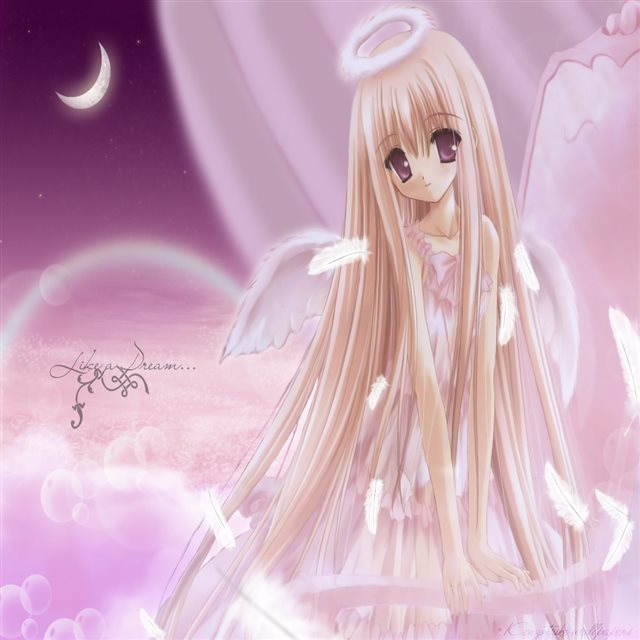 Anime Girl Blondes  Brown Eyes Dress Feathers  iPad wallpaper