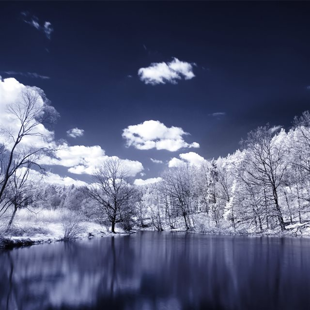 Infrared Photography Landscapes Skyscapes Trees Water  iPad wallpaper