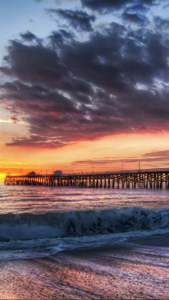 California Beach Dock Sunset  iPhone 8 wallpaper