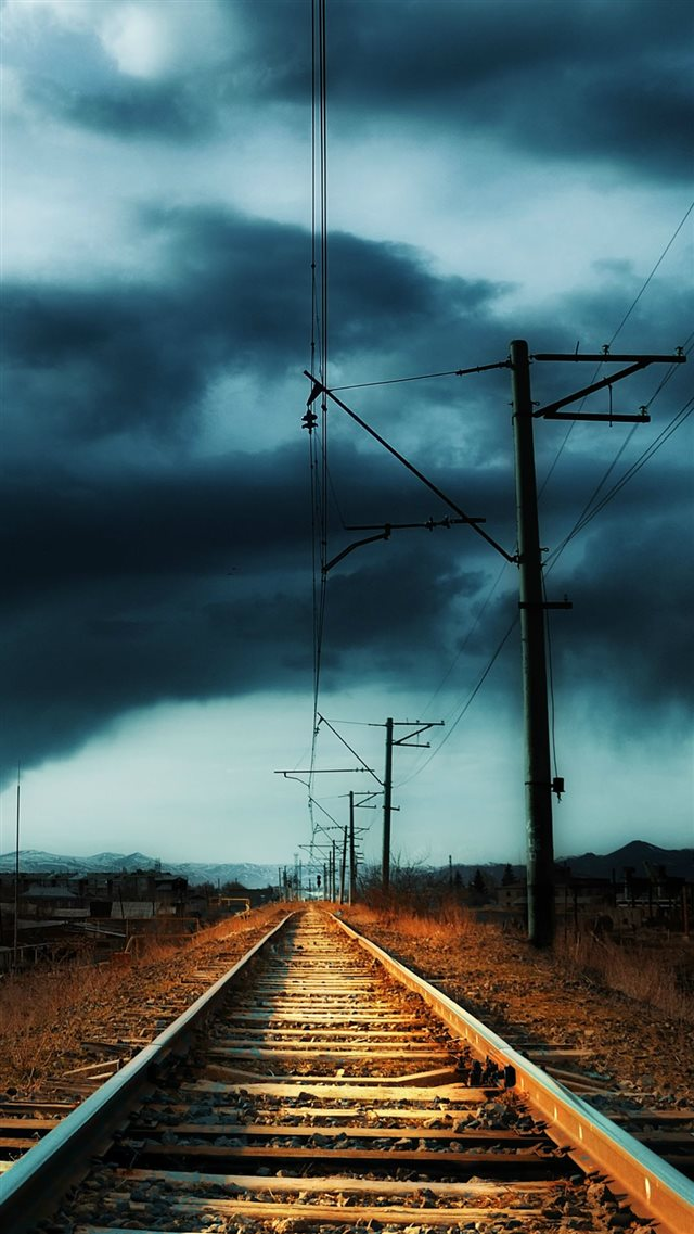 Countryside Railway Storm iPhone 8 wallpaper