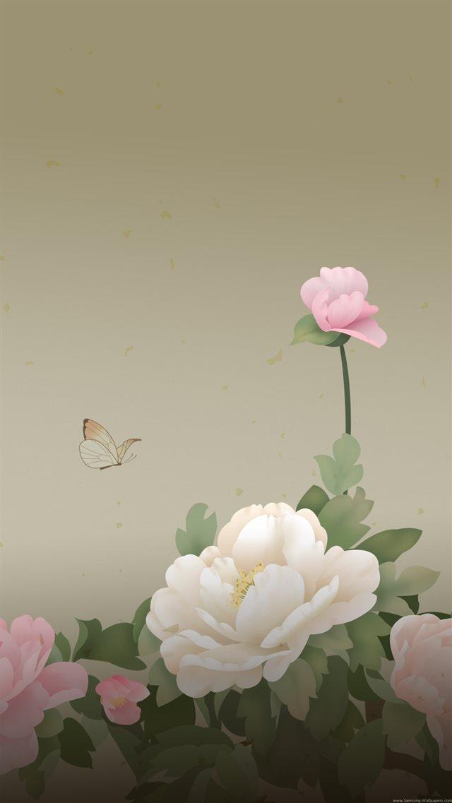 Peony Flowers Butterfly iPhone 8 wallpaper