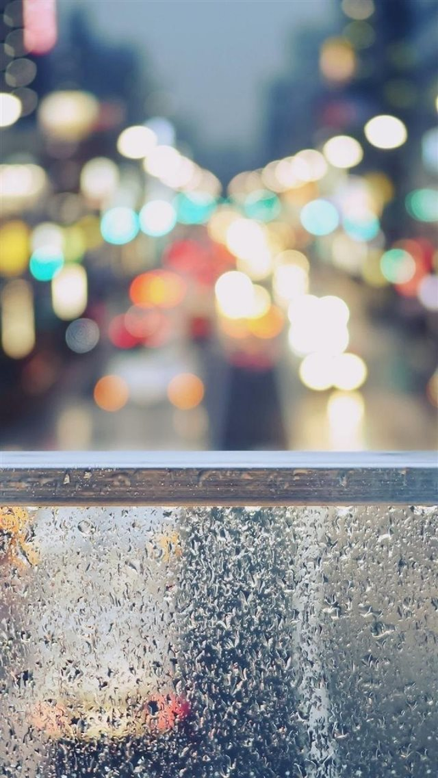 Rainy Street Window Bokeh iPhone 8 wallpaper
