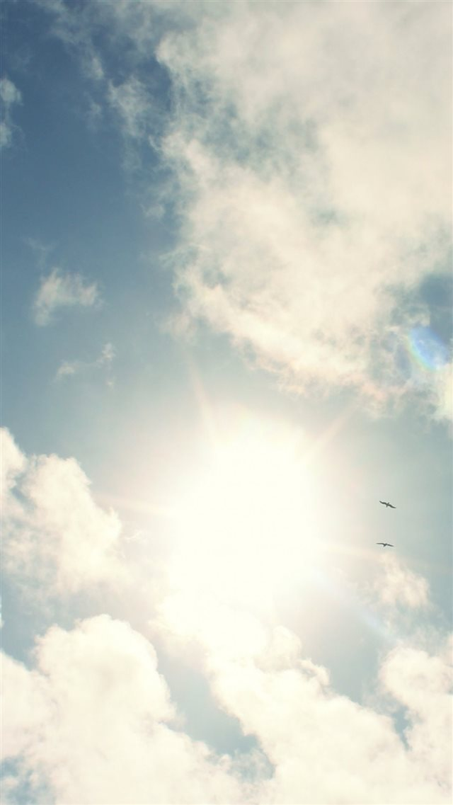 Sunny Sky White Clouds iPhone 8 wallpaper
