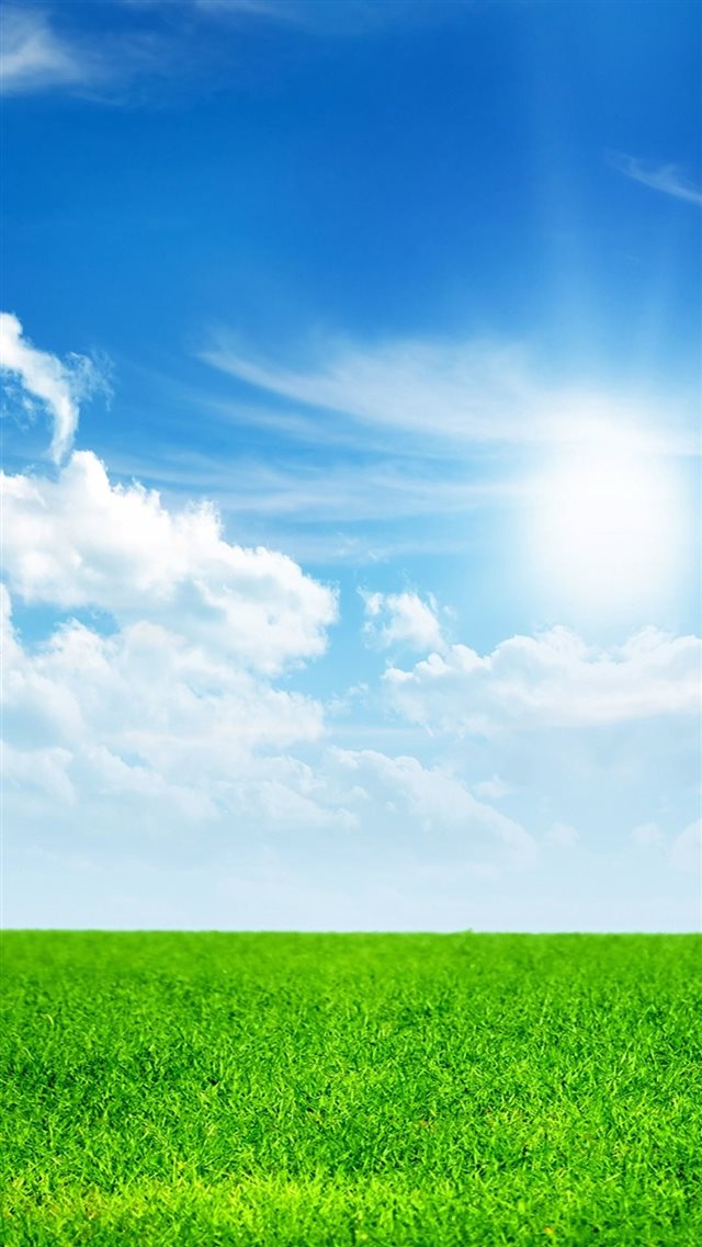 Nature Green Land And Blue Sky iPhone 8 wallpaper