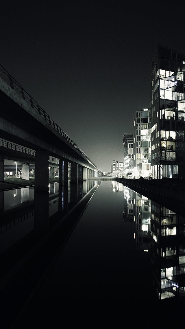 Dark City View Beside Lake Landscape iPhone 8 wallpaper
