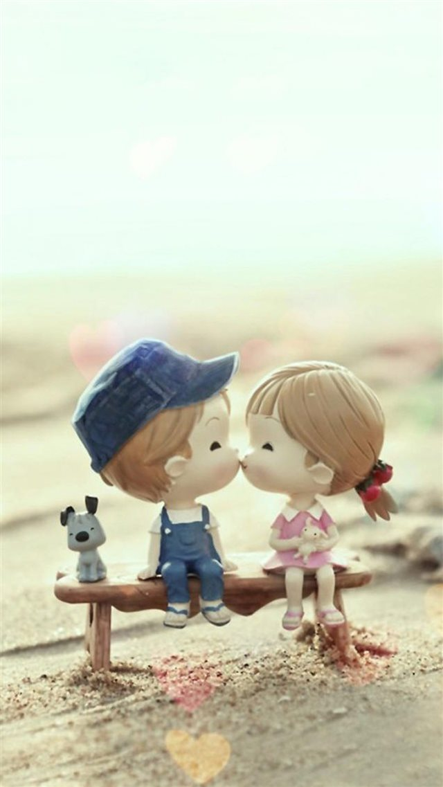 Cute Cartoon Kissing Couple iPhone 8 wallpaper