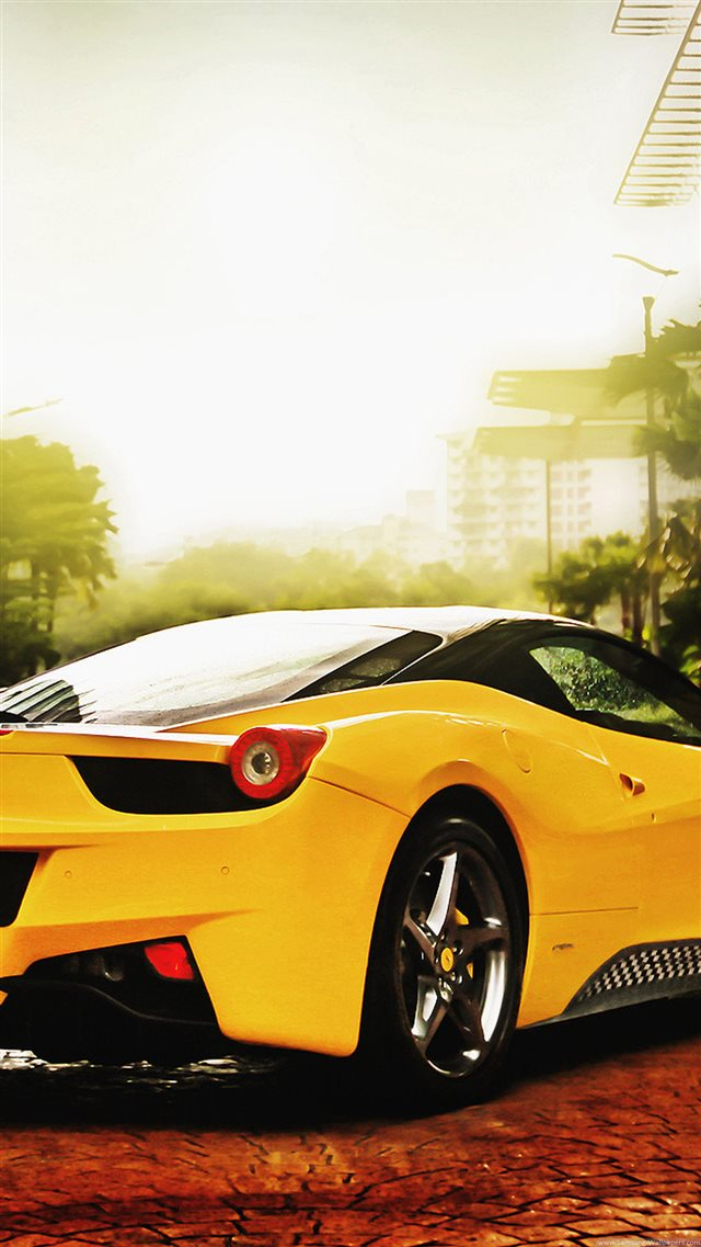 Ferrari 458 Spider Yellow iPhone 8 wallpaper